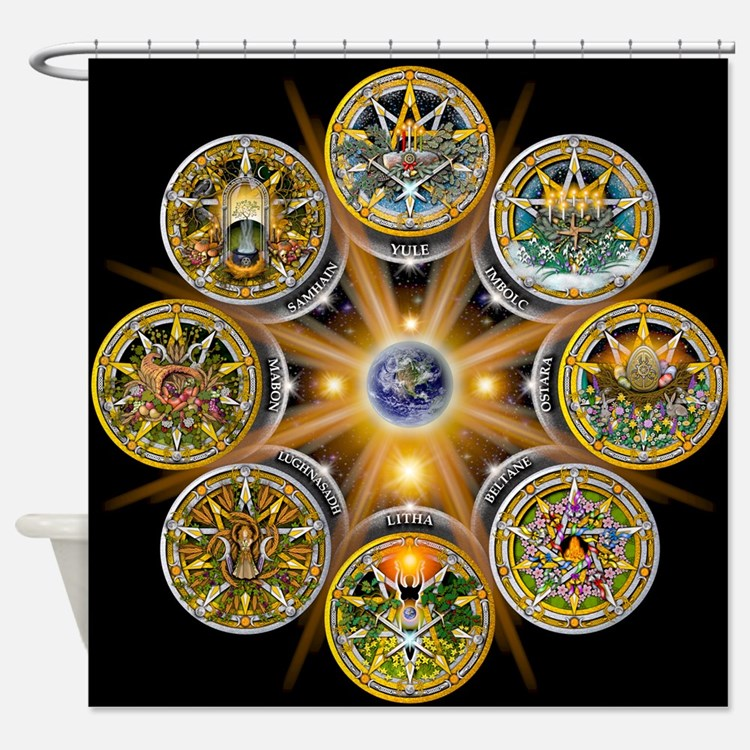 Witches Wheel of the Year Shower Curtain. Wiccan Bathroom Accessories   Decor   CafePress