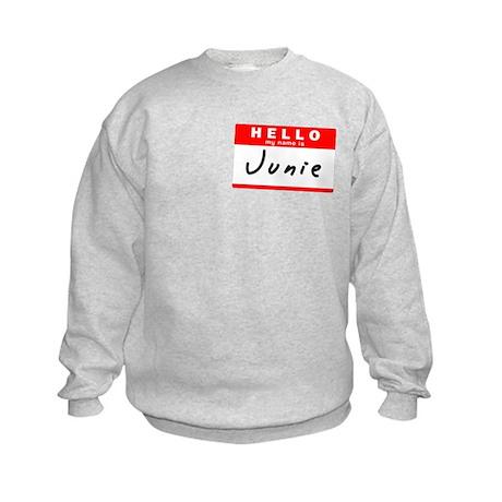 Junie, Name Tag Sticker Kids Sweatshirt