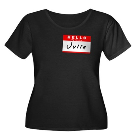 Julie, Name Tag Sticker Women's Plus Size Scoop Ne