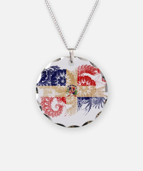 Dominican Republic Flag Necklace Circle Charm
