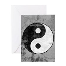 Distressed Yin Yang Symbol Greeting Card