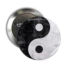 "Distressed Yin Yang Symbol 2.25"" Button"