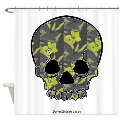 skull with plumeria Shower Curtain