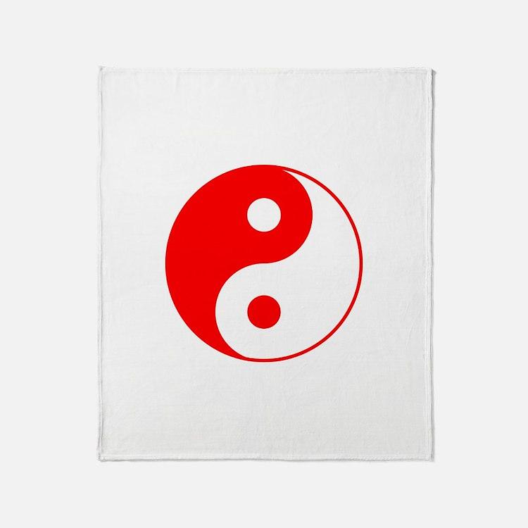Red Yin Yang Throw Blanket
