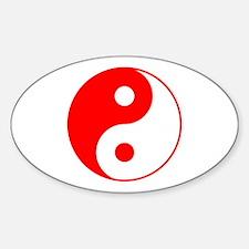 Red Yin Yang Sticker (Oval)
