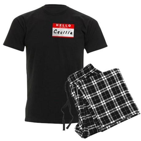 Cecilia, Name Tag Sticker Men's Dark Pajamas