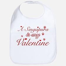A Singapura is my valentine Bib