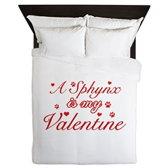 A Sphynx is my valentine Queen Duvet