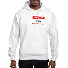 Nyla, Name Tag Sticker Hoodie Sweatshirt
