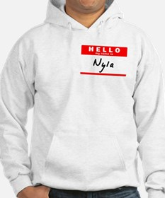 Nyla, Name Tag Sticker Hoodie Sweatshirt