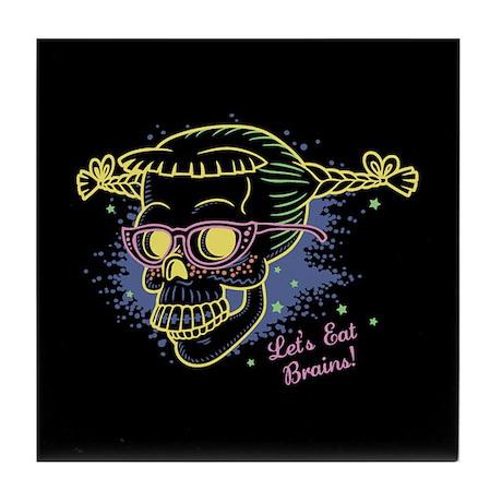 Geek Girl Zombie Skull! Tile Coaster