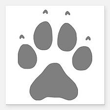 "Wolf Paw Print Square Car Magnet 3"" x 3"""