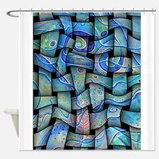 blue textile Shower Curtain