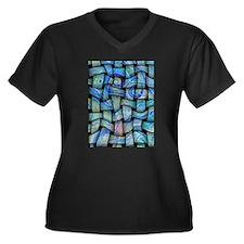 blue textile Women's Plus Size V-Neck Dark T-Shirt