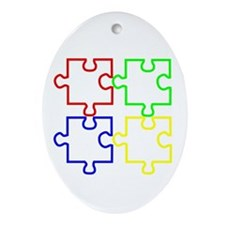 Autism Awareness Puzzles Ornament (Oval)