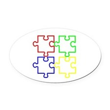 Autism Awareness Puzzles Oval Car Magnet