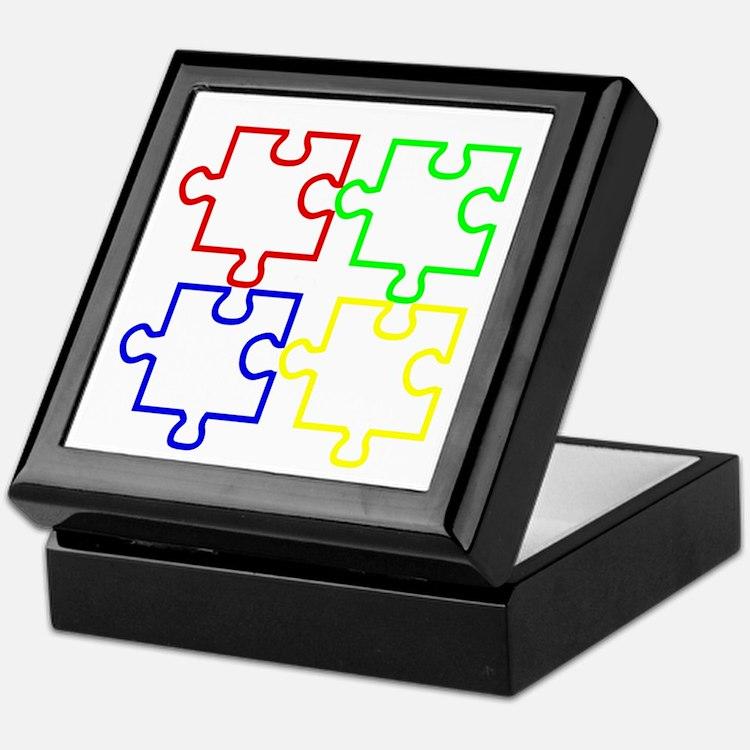 Autism Awareness Puzzles Keepsake Box