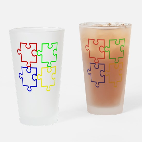 Autism Awareness Puzzles Drinking Glass