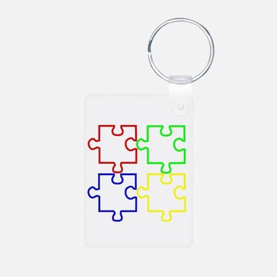 Autism Awareness Puzzles Aluminum Photo Keychain