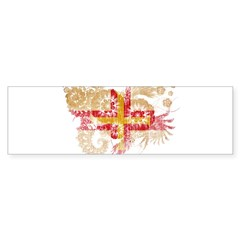 Guernsey textured flower aged copy.png Bumper Sticker
