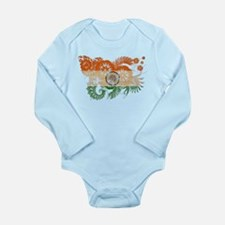 India Flag Long Sleeve Infant Bodysuit