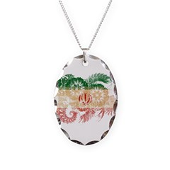 Iran Flag Necklace Oval Charm