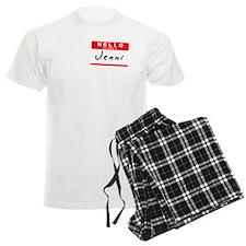 Jenni, Name Tag Sticker Pajamas