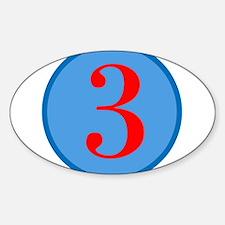 Number Three Birthday Sticker (Oval)