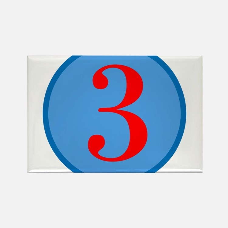 Number Three Birthday Rectangle Magnet