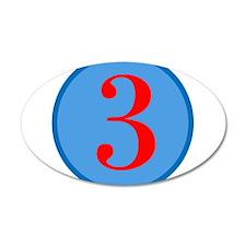 Number Three Birthday 38.5 x 24.5 Oval Wall Peel