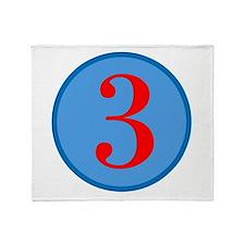 Number Three Birthday Throw Blanket