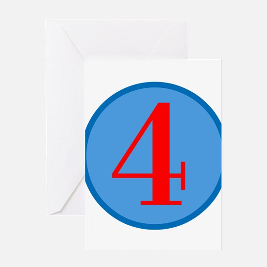 Number Four Birthday Greeting Card
