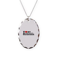 Cool Snow Boarder Girlfriend designs Necklace Oval