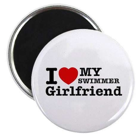 "Cool Swimmer Girlfriend designs 2.25"" Magnet (100"