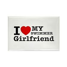 Cool Swimmer Girlfriend designs Rectangle Magnet
