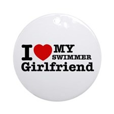Cool Swimmer Girlfriend designs Ornament (Round)
