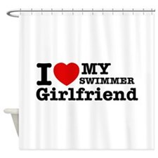 Cool Swimmer Girlfriend designs Shower Curtain