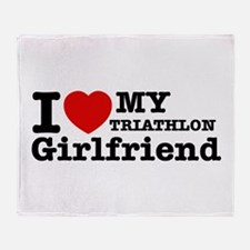 Cool Triathlon Girlfriend designs Throw Blanket