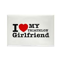 Cool Triathlon Girlfriend designs Rectangle Magnet