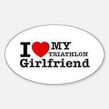 Cool Triathlon Girlfriend designs Decal