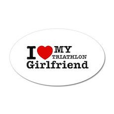 Cool Triathlon Girlfriend designs 22x14 Oval Wall