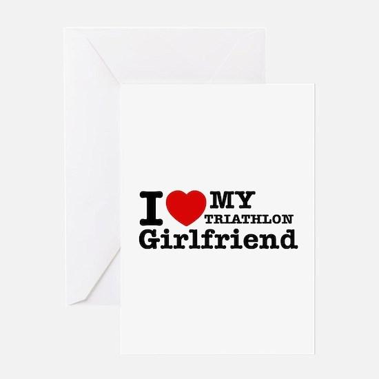 Cool Triathlon Girlfriend designs Greeting Card