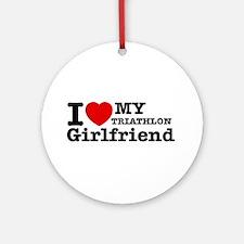 Cool Triathlon Girlfriend designs Ornament (Round)
