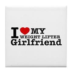 Cool Weight Lifter Girlfriend designs Tile Coaster