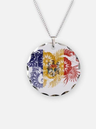 Moldova Flag Necklace Circle Charm
