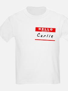 Carlie, Name Tag Sticker T-Shirt