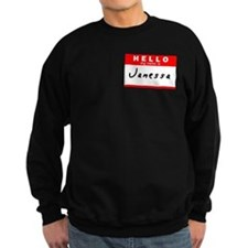 Janessa, Name Tag Sticker Sweatshirt