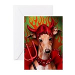Italian Greyhound Devil Dog Greeting Cards