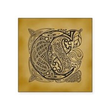 "Celtic Letter C Square Sticker 3"" x 3"""