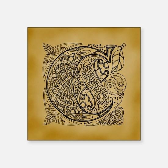 "Celtic Letter C Square Sticker 3"" x 3"""